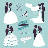 Elegant wedding couples in silhouette Royalty Free Stock Images