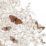 Elegant wedding design with hand drawn flowers and butterflies Royalty Free Stock Images