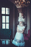Elegant wedding dress and crown. Gorgeous woman. Tender bride in Royalty Free Stock Photo