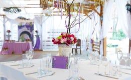 Elegant wedding festive table decoration Stock Photo