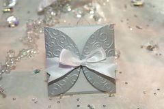 Elegant wedding invitation. With a bow Royalty Free Stock Photos