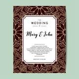 Elegant wedding invitation background. Card design with floral ornament. Vector decorative template Stock Image