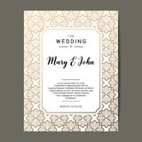 Elegant wedding invitation background. Card design with gold floral ornament. Stock Photos