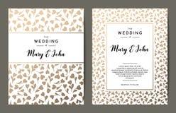 Elegant wedding invitation backgrounds. Card design with gold floral ornament. Vector decorative templates stock illustration