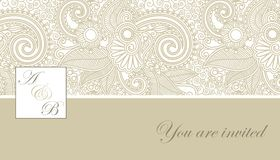 Elegant wedding invitation. Beige floral theme wedding invitation Royalty Free Stock Image