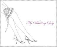 Elegant wedding invitation with bridal garter. Vector illustration Vector Illustration