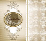 Elegant wedding invitation card with lace Royalty Free Stock Photo