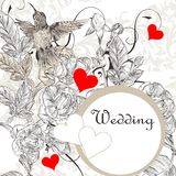 Elegant  wedding invitation card with roses and bird Stock Images