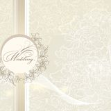 Elegant Wedding Invitation Card With Banner And Flowers Royalty Free Stock Image