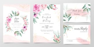 Elegant wedding invitation cards template with watercolor floral decoration. Floral frame and golden watercolor textured