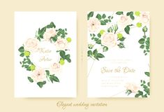 Elegant Wedding Invitation with Flowers. royalty free illustration