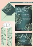 Elegant wedding invitation, in shades of dark green and light green, with save the date Royalty Free Stock Photo
