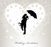 Elegant wedding invitation with vector silhouette Royalty Free Stock Image