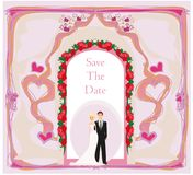 Elegant wedding invitation with wedding couple Stock Photo