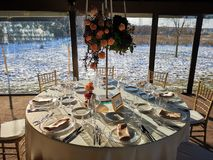 Elegant wedding party table with decoration royalty free stock images