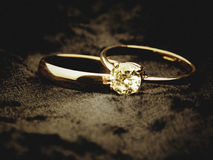 Elegant wedding rings on black velvet Royalty Free Stock Image