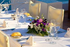 Elegant Wedding Table with Sea Views Royalty Free Stock Image