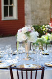 Elegant Wedding Table Setting at the Deering Estate in Miami Flo. Rida with flower arrangement Royalty Free Stock Image