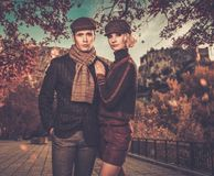 Elegant well-dressed couple outdoors Royalty Free Stock Photography