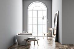 Bathtub in grey bathroom interior vector illustration