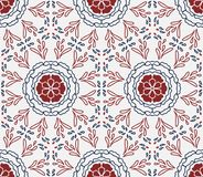 Elegant white, blue and red floral shapes seamless repeating pat stock photos