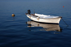 Elegant white boat. On blue sea water Stock Photography