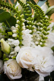 Elegant white bouquet of flowers and leaves macro closeup Royalty Free Stock Photos
