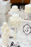 Elegant white candle and other wedding objects Royalty Free Stock Image