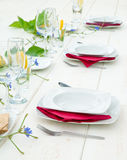 Elegant white dinner table Royalty Free Stock Images