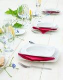 Elegant white dinner table royalty free stock images