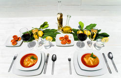 Elegant white dinner table Stock Image