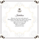 Elegant white emblem, for VIP invitations. With a circular white Victorian ornament. For design and web. Stock Photos