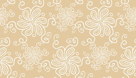 Elegant white flower seamless pattern on beige Royalty Free Stock Photography