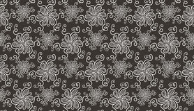 Elegant white flower seamless pattern on brown Royalty Free Stock Photography