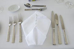 Elegant White Folded Serviette Stock Photo