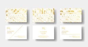 Elegant white and gold luxury business cards Set with marble texture and gold detail vector template, banner or. Invitation with golden foil details. Branding Stock Image