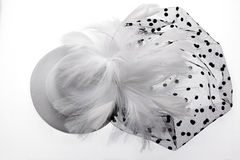 Elegant white headdress for women, for important event. Stock Photo