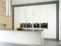 Elegant white kitchen with travertine stone wall. Contemporary kitchen with food and flowers Stock Photos