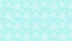 Elegant white lace flower seamless pattern on blue Stock Image