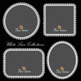 Elegant white lace pattern decoration collection. Stock Images