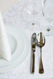Elegant White Lace Table Setting Royalty Free Stock Photos