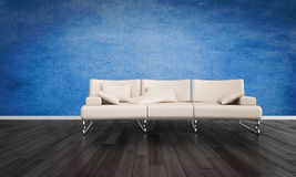 Elegant white leather sofa in a blue room Royalty Free Stock Photos