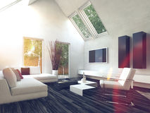 Elegant White Living Room with Glass Windows Royalty Free Stock Image