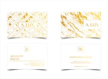 Elegant white luxury business cards with marble texture and gold detail vector template, banner or invitation with Royalty Free Stock Images