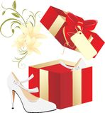 Elegant white shoes in a gift Royalty Free Stock Photography