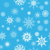 Elegant white snowflakes of various styles Royalty Free Stock Photos