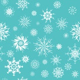 Elegant white snowflakes of various styles Stock Images
