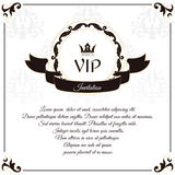 Elegant white VIP card. It is executed in the Victorian style with a leaf ornament. Suitable for the design of invitations. Stock Photo