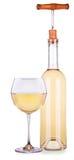 Elegant white wine glass and bottle isolated Royalty Free Stock Photo