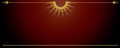 Elegant wide red background. Elegant gold design on a wide red background royalty free illustration